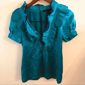 BCBGMaxazria NWOT silk ruffle blouse blue jade XS